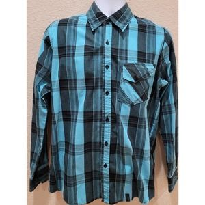 Straight Faded Plaid Button Up Men's Shirt Small